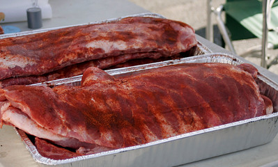 Ribs coated with a rub waiting to be cooked at the Lindsay Rib Cook Off on Saturday, November 2, 2013.