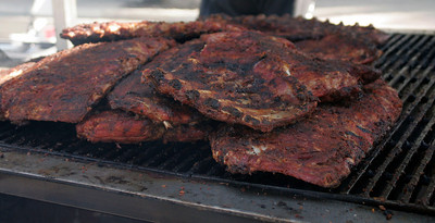 Ribs to be served to the public at the Lindsay Rib Cook Off on November 2, 2013.