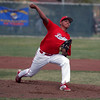 Lindsay Cardinal pitcher Israel Uribe lets the ball fly in  a 13-2 loss to the Woodlake Tigers on April 4th.