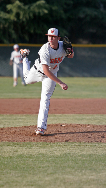 Woodlake Tiger pitcher Josh Burgdol struckout six in the Tiger's 22-4 win over the Lindsay
