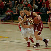 Cantwell-Sacred Heart's Priscilla Rodriguez (32) drives against Lindsay's Christina Castro on Wednesday, March 6, 2013.