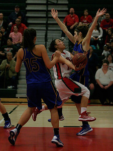 Lindsay's Christina Castro drive the lane against Exeter on February 26, 2013 for 2 of her 28 points.