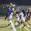 Madera South goalee Melani Rinder (25) goes up high to block the Tulare Union shot on the Stallion goal. The Tribe would score an go on to a 6-0 victory.
