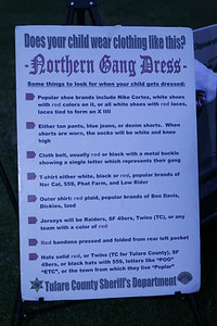 Northern California Gang Dress poster at the TSCO Gang Supression Unit table at the MUAGV Peace march on Saturday, March 16, 2013.