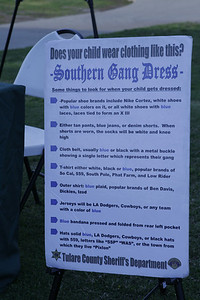 List of Southern Gang Dress at the TCSO table at the MUAGV Candlelight Vigil and Peace March on Saturday, March 16, 2013.