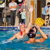 Mt . Whitney water polo player Jacob Canaday attempt a shot against Tulare Western's Aidan Champagne (10) in the CIF Central Section D# Water Polo championship game.  Tulare Western would upset the top-seeded Pioneers by an 16-11 score to be crowned the Central Section Champs.