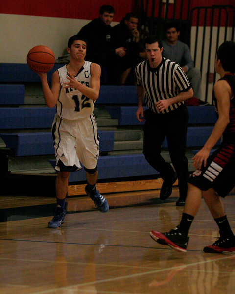 Farmersville point guard Andrew Juarez looks to pass the basketball in the Aztec's 58-38 loss to Granite Hills on Saturday, December 21, 2013.