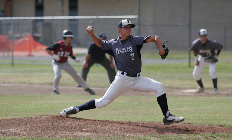 Farmersville pitcher Sam Metcalf carried the Aztecs to the CIF Central Section Division VI final against Minarets on Saturday, May 24, 2014.