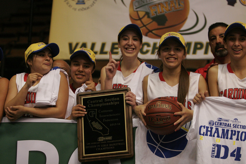 Chelsea Alvarez, Christina Castro, Ashley Baker, Destiny Garcia, and Megan Salinas celebrate the Cardinal's Second Division IV Central Section Championship.