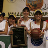 Chelsea Alvarez, Christina Castro, Ashley Baker, Destiny Garcia, and Megan Salinas celebrate the Cardinal's Second Division IV Central Section Championship.