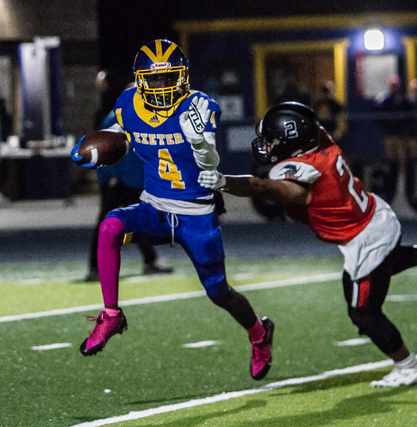 Exeter Monarch runningback Dewayne Coleman tries to elude the tackle a of Selma Bear defender in Friday night's Central Sequoia League action. The Monarchs would come out on the short end of a 58-18 contest to the 7-1 Bears.