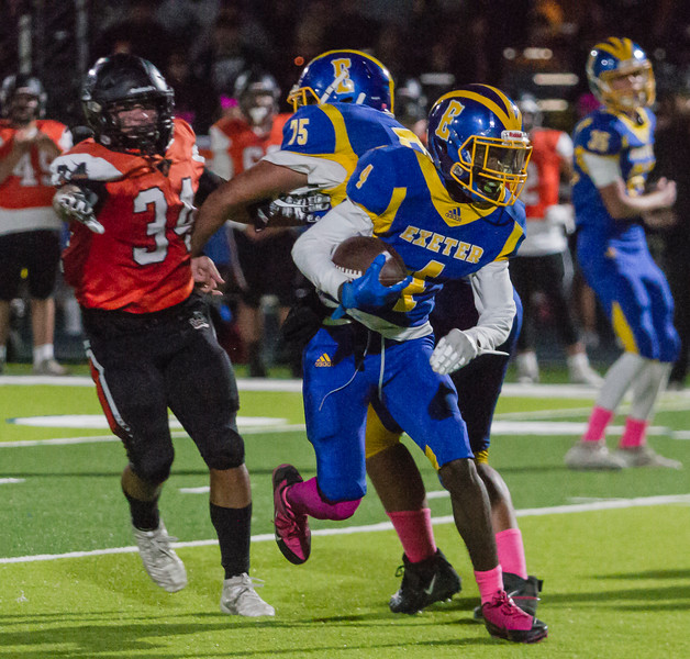 Exeter RB Dewayne Coleman (4) found running tough against the visiting Selma Bears in the Monarch's 58-18 loss in CSL play.