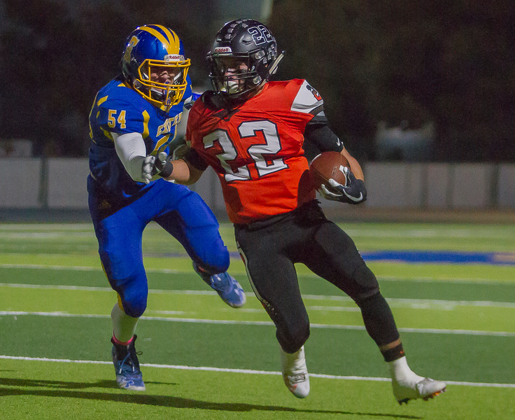 Monarch DE Jaxson Mendez (54) chases down the Selma Bear runningback in the CSL contest on Friday. The 7-1 Selma Bears would cruise to a 58-18 victory.