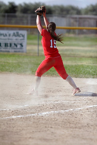 Lindsay High School Cardinal Softball First Base Kennedy Kendig.