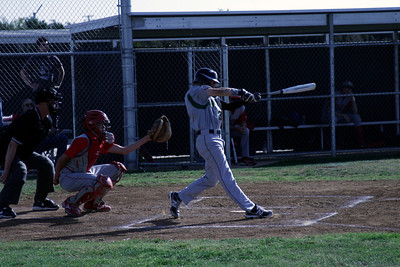 Sierra Pacific's Jacob Evangelo (3) swings at a pitch during the Strathmore vs. Sierra Pacific contest on March 19, 2013.