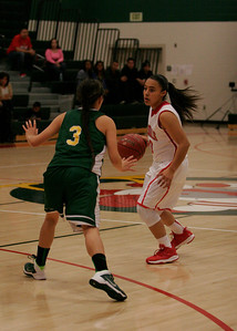 Linday's Christina Castro (10) brings the ball up against Sierra Pacific's Maegan Harding. Christina had 23 points in the Cardinal's 72-40 win.