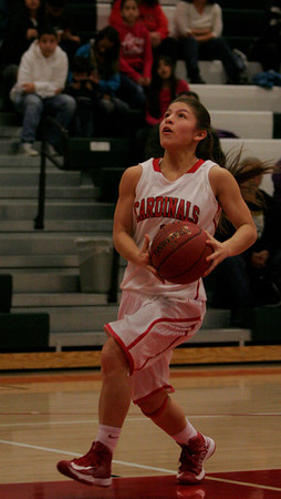 Lindsay Cardinals guard Destiny Garcia (1) on a fast break layup during the Cardinals 72-40 victory over Sierra Pacific on Thursday, February 6, 2014.