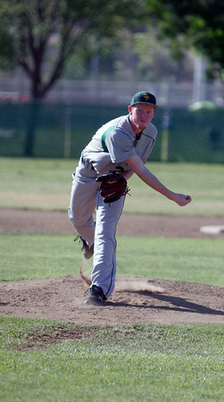 Sierra Pacific's Matthew Leslie pitching against Lindsay on April 9, 2013.
