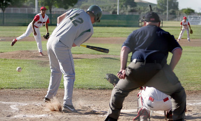Sierra Pacific's Cody Rossi hits a ground ball against Lindsay pitcher Israel Uribe on April 9, 2013.