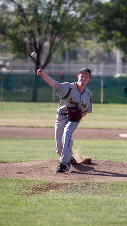 Matthew Leslie of Sierra Pacific pitches against Lindsay on 4-9-13.