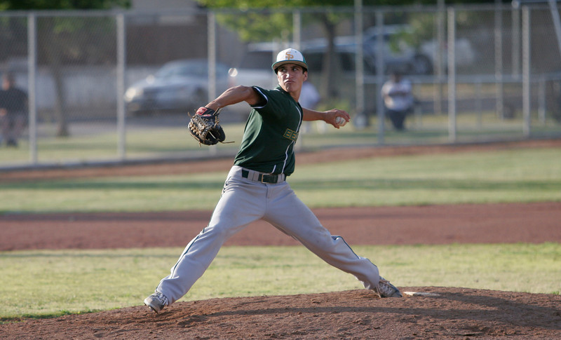 Sierra Pacific pitcher Jacob Evangelo had 12 Ks in a complete game shut out victory over Woodlake on Wednesday, May 7th.