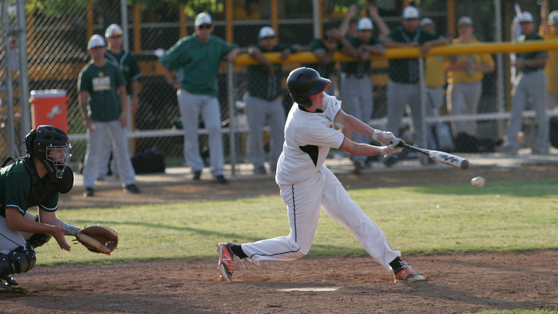 Woodlake Tiger pitcher Spencer Jones swings at a pitch during their contest against Woodlake on Wednesday, May 7th.