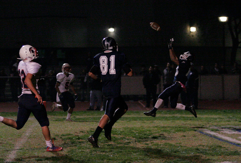 Farmersville Aztec WB catches one of his 3 touchdowns during the CIF Central Section Divsion VI Final on Friday, November 29th.
