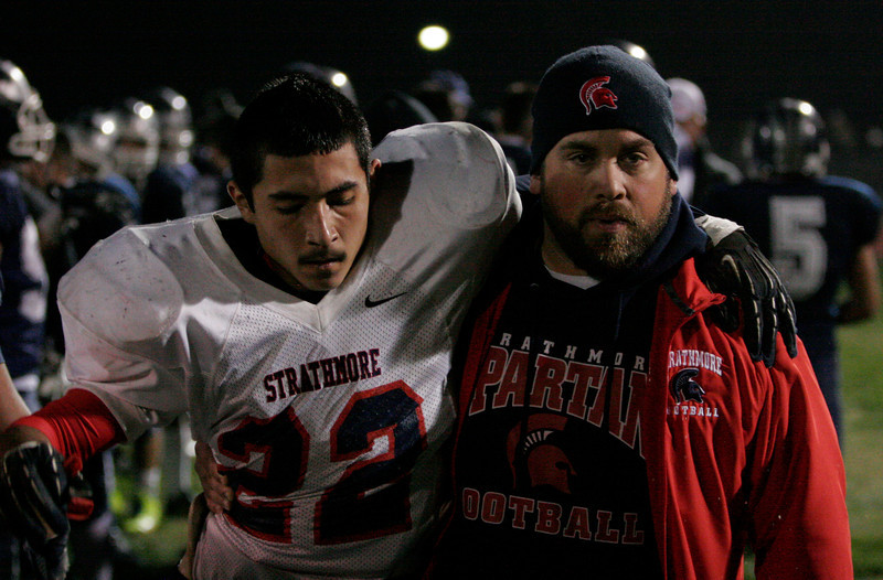 Strathmore Spartan runningback shows the strain of a hard fought game in Friday's Valley Championship loss at Farmersville.