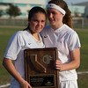 Samantha Oliveira and Ally Holloway display the plaque given to the Strathmore Spartan's girl's soccer team for their runner up finish in the 2015 CIF Southern Regional Championship game. The Spartans came up a game short of the championship losing to the Maranatha (Pasadena) Minutemen by a 3-1 score.