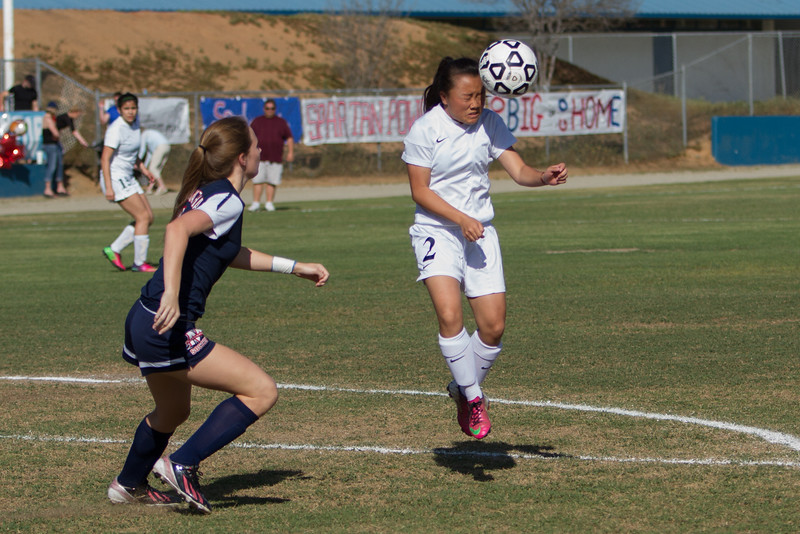 Strathmore Spartan MF Viktoria Jasengnou hits a header during the 2015 CIF Southern California Division IV Soccer Championship final on Saturday, March 14th. The Spartans came up one game short of the Championship losing to the visiting Maranatha  Minutemen by a 3-1 score.
