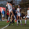 Strathmore Spartan Samantha Oliveira sends a header flying during the Spartan's 2015 CIF So Cal Division IV championship game. Strathmore fell to the visiting Maranatha Minutemen by a 3-1 score.