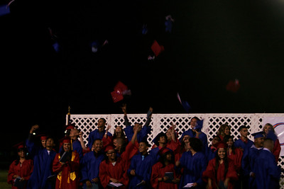 Strathmore High Class of 2013 let their caps fly at the end of the