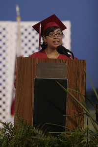Strathmore High School Valedictorian Mireya Cortez give her address at the Strathmore High Commencement on May 24, 2013.