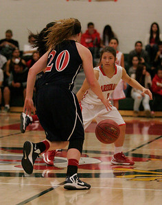 Lindsay Cardinal's Destiny Garcia (1) guards the dribble of Shelby Vanasen (20) during the Cardinal's 81-38 victory over the Spartans.