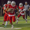 Lindsay Cardinal runningback Isiah Garcia (22)  runs the football in the Cardinal's 10-7 victory over the Strathmore Spartans in CSL play.