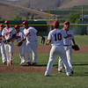 The Lindsay Cardinal players celebrate a 10-5 victory in their season finale versus Strathmore on Friday, May 9th.