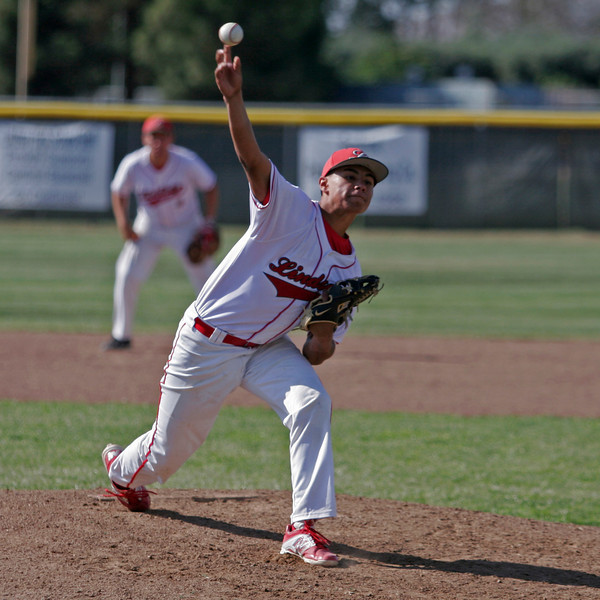 Lindsay Cardinal pitcher Isreal Uribe releived Jose Soto at pitcher against Strathmore on May 9 and took the win.