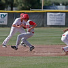 Strathmore Spartan 3B Brandon Belk steals 2nd early in the Spartan's season finale against the Lindsay Cardinals. Lindsay scored 8 runs in the 6th inning to win 10-5.