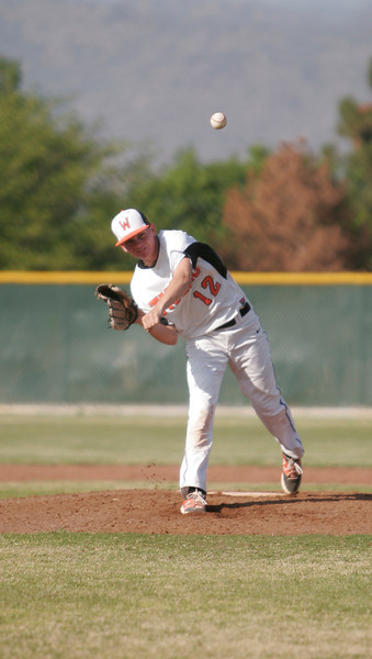 Woodlake Tiger pitcher Cade Headrick came in to relieve starter Spencer Jones in the Tigers' 3-1 loss to Strathmore.