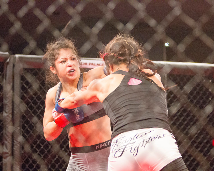 Sheilamarie Padilla  of Visalia (l) and Cornia Herrera (r) of Porterville fought on the under card of TPF28. The MMA card included several local fighters.