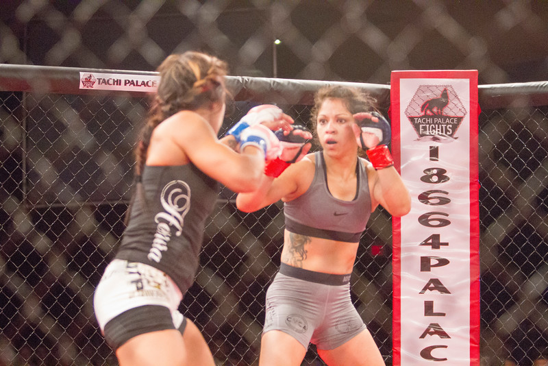 Sheilamarie Padilla (r) of Visalia scored an unanimous decision over Porterville's Corina Herrera in MMA action during the undercard of TPF28 on  Thurdsay, August 4, 2016 at Tachi Palace in Lemoore, CA.
