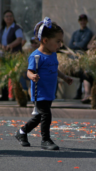 A very small member of the Striving Stars Baton Twirling group which placed 2nd in the 2014 OBF parade.
