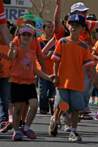 Some students from Jefferson Elementry School marching in the 2014 OBF parade in Lindsay.