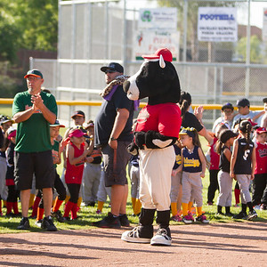 Visalia  Rawhide mascot Tipper made an appearance at the 2017 opening of the Woodlake Youth Baseball and Softball Opening Ceremony.