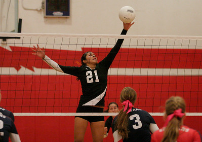 Woodlake Tiger Melissa Samamiego (21) make a block against Strathmore's Coby Duffin (3) in the Tiger's 3-0 win at Strathmore on October 24th.