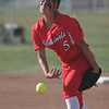 Lindsay Cardinal pitcher Lina Padilla throws a strike against Woodlake on Friday.