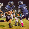Farmersville Aztec QB, senior Victor Castrejon (4) rushed  7 times for 118 yards and 2 touchdowns in Farmersville's non-league fight against the unbeaten Yosemite Badgers. Farmersville and Yosemite exchanged the lead numerous times during the game, but ultimately Yosemite held on for a 35-33 win to spoil the Aztecs' homecoming.