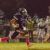 Farmersville WR Andrew Garcia (3) races to the end zone for one of his two touchdown receptions. Garcia caught 4 passes for 108 yards and 2 touchdowns for the Aztecs. However, the Aztecs fell in a 35-35 slugfest.