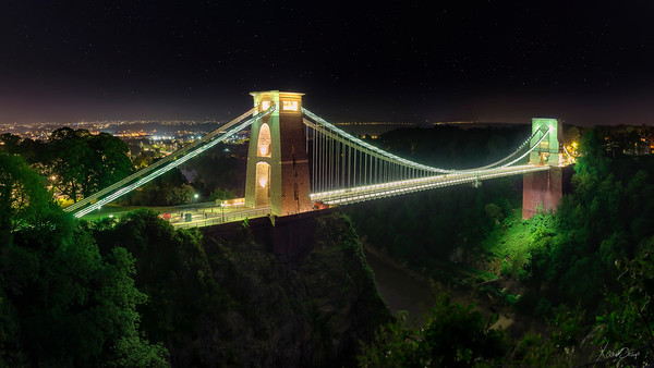 Clifton Suspension Bridge by night, Bristol, UK