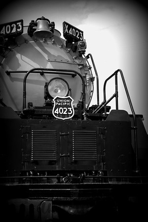 Black and white train engine close up